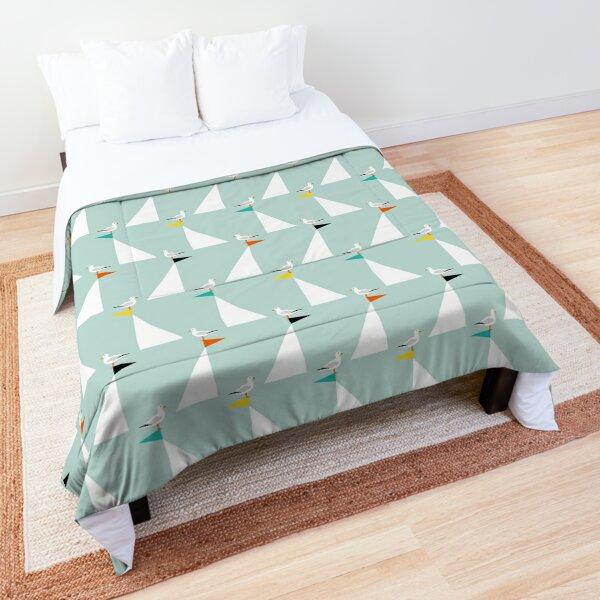 Seagulls and Sails - Eau de Nil Comforter
