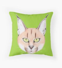 African Caracal Cat Throw Pillow