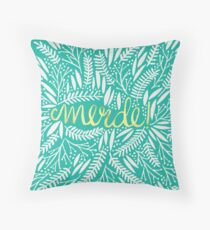 Pardon My French – Turquoise & Gold Throw Pillow
