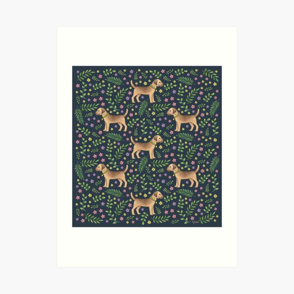 Border Terriers Spring Floral on navy - pattern Art Print