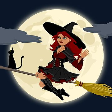 Witch on Broom with Black Cat by EdmondHoggeJr