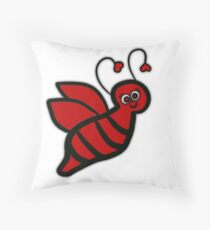 Bee Happy - Red Bumblebee  Throw Pillow