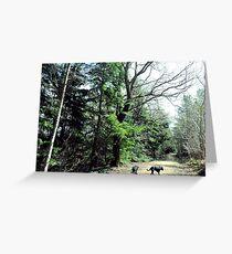Rottweilers on Walkies Greeting Card