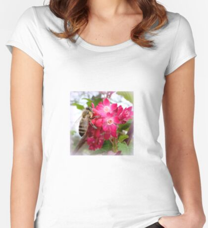 Bee on blooming jostaberry  Women's Fitted Scoop T-Shirt