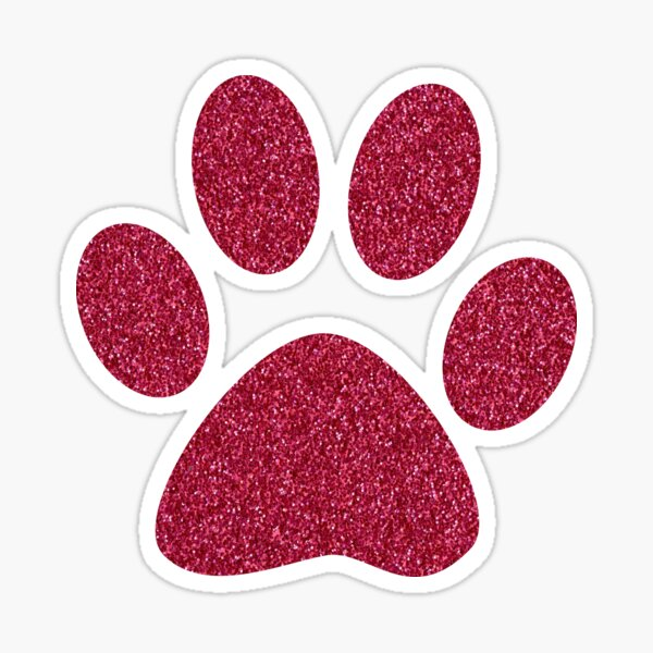 Cat Paw Faux Pink Glitter Sticker
