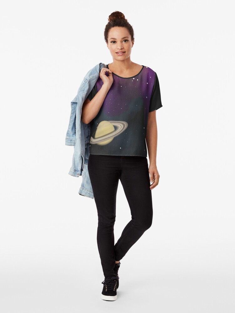 Alternate view of Saturn - Alien Ring Planet and Galaxy Chiffon Top