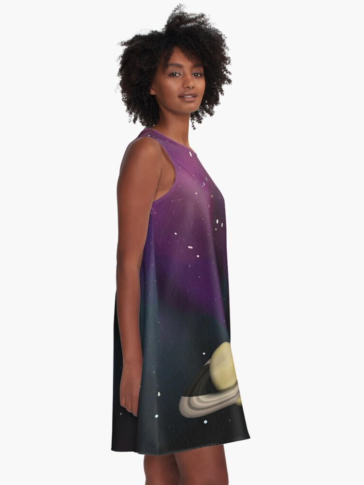 Alternate view of Saturn - Alien Ring Planet and Galaxy A-Line Dress