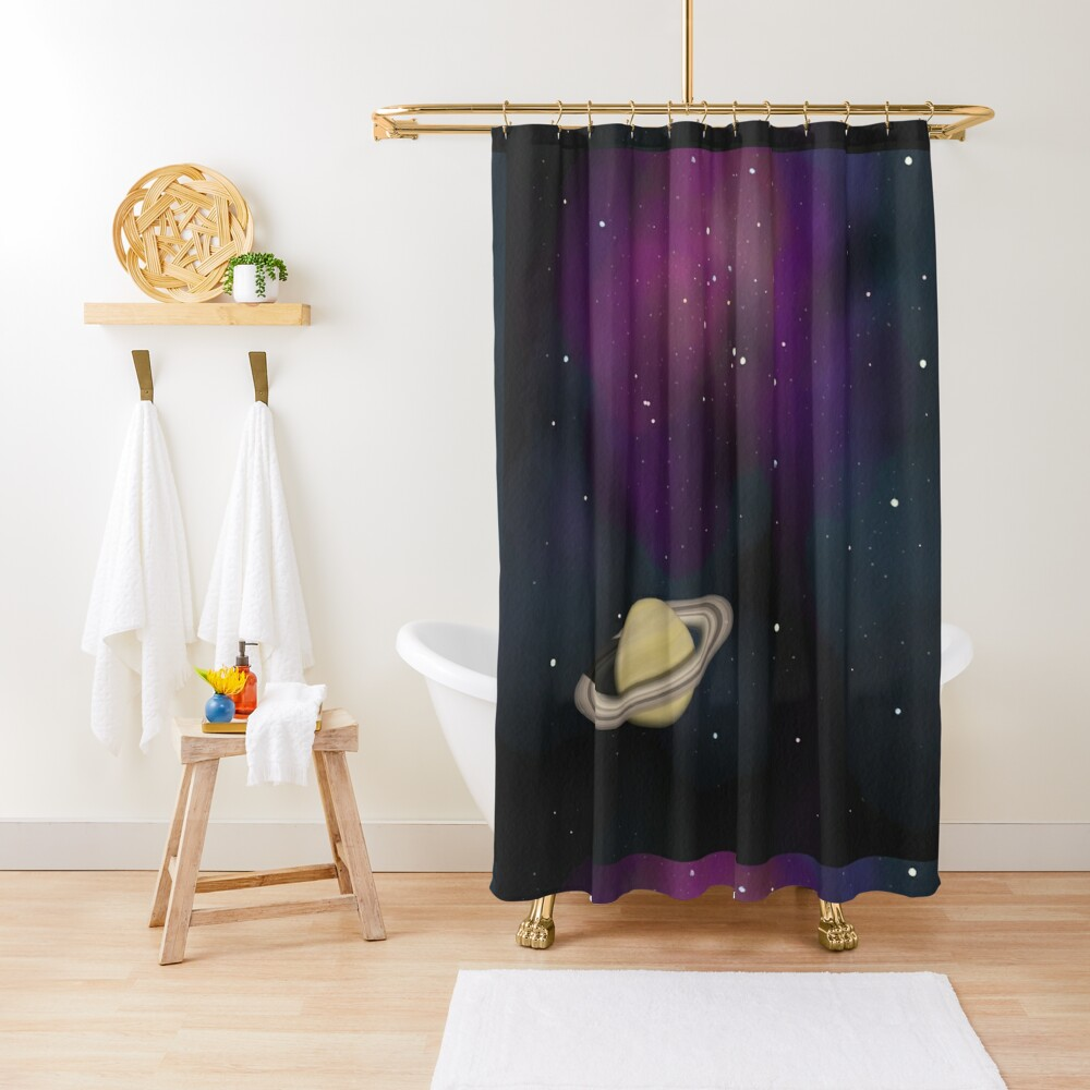 Saturn - Alien Ring Planet and Galaxy Shower Curtain