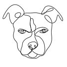 Pitbull line art, continuous line art drawing, dog drawing, line art drawing, pitbull art by PetFriendly