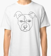 Pitbull line art, continuous line art drawing, dog drawing, line art drawing, pitbull art Classic T-Shirt