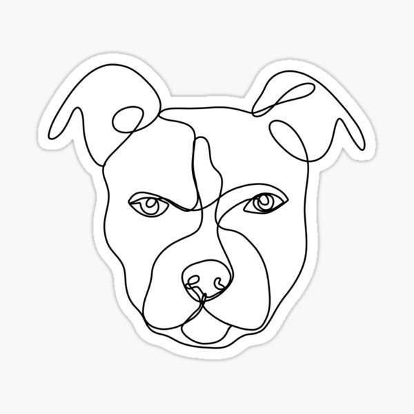 Pitbull line art, continuous line art drawing, dog drawing, line art drawing, pitbull art Sticker