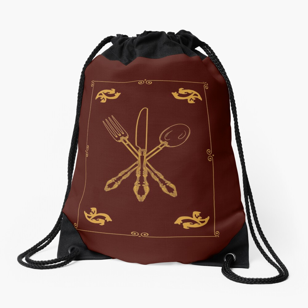 Just Add Magic Utensils Gold with Border Drawstring Bag