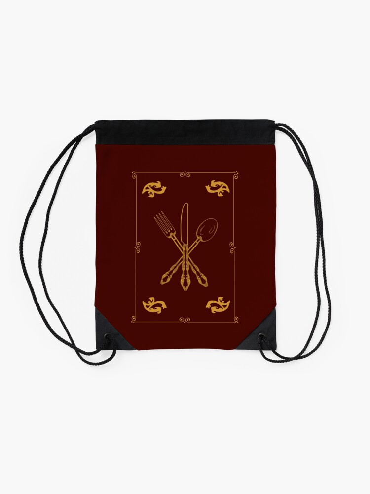 Alternate view of Just Add Magic Utensils Gold with Border Drawstring Bag