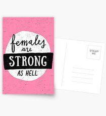 Frauen sind stark wie die Hölle | Rosa Postkarten