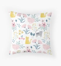 Pretty Floral Cats Throw Pillow