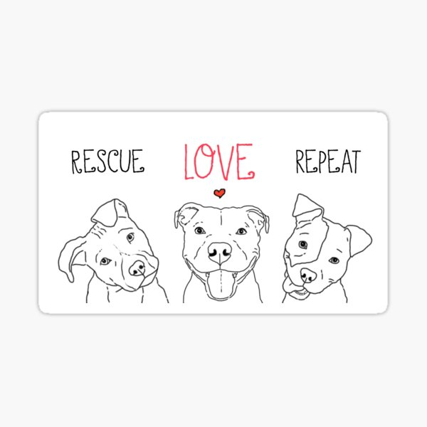 Rescue Love Repeat Cute Pitbull Pittie Drawings Sticker
