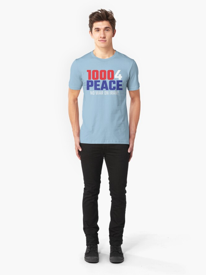 Alternate view of 10004 (for) PEACE - No War on Iran! Slim Fit T-Shirt