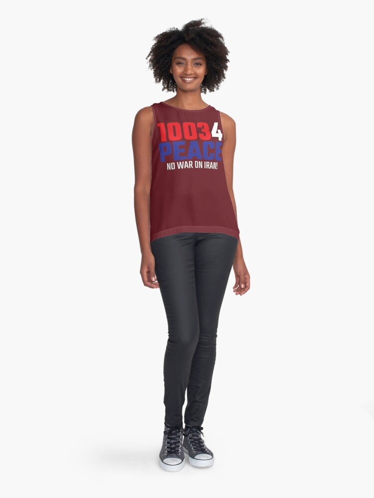 Alternate view of 10034 (for) PEACE - No War on Iran! Sleeveless Top