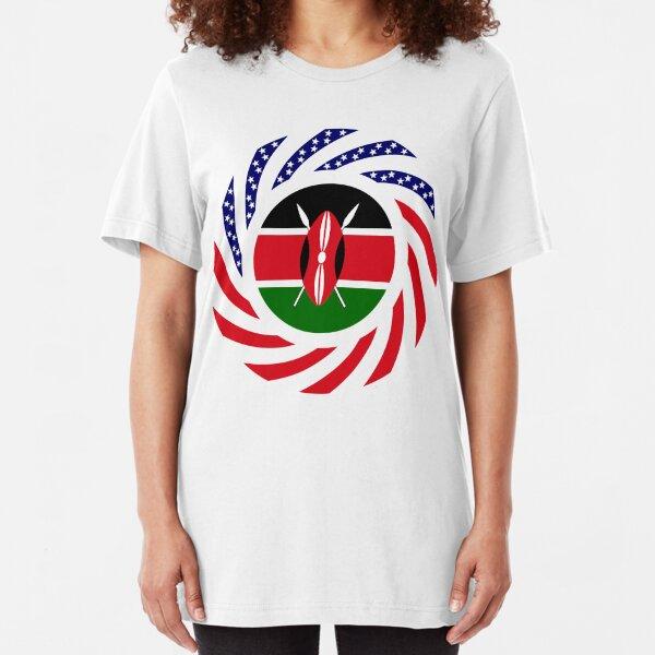 Kenyan American Multinational Patriot Flag Series Slim Fit T-Shirt