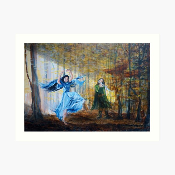 Luthien dances in the autumn woods Art Print