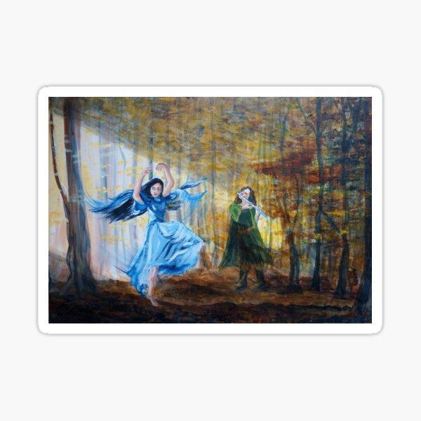 Luthien dances in the autumn woods Sticker