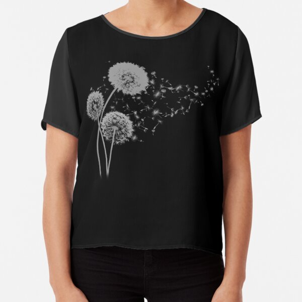 Dandelion Wishes on Black Chiffon Top