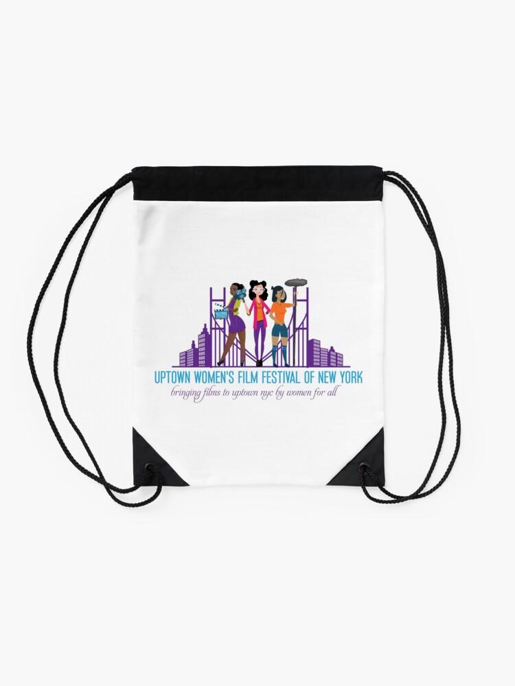 Alternate view of Uptown Women's Film Festival of New York Drawstring Bag