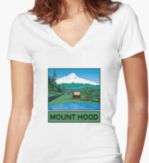 Oregon Scenic Byway - Mount Hood Women's Fitted V-Neck T-Shirt