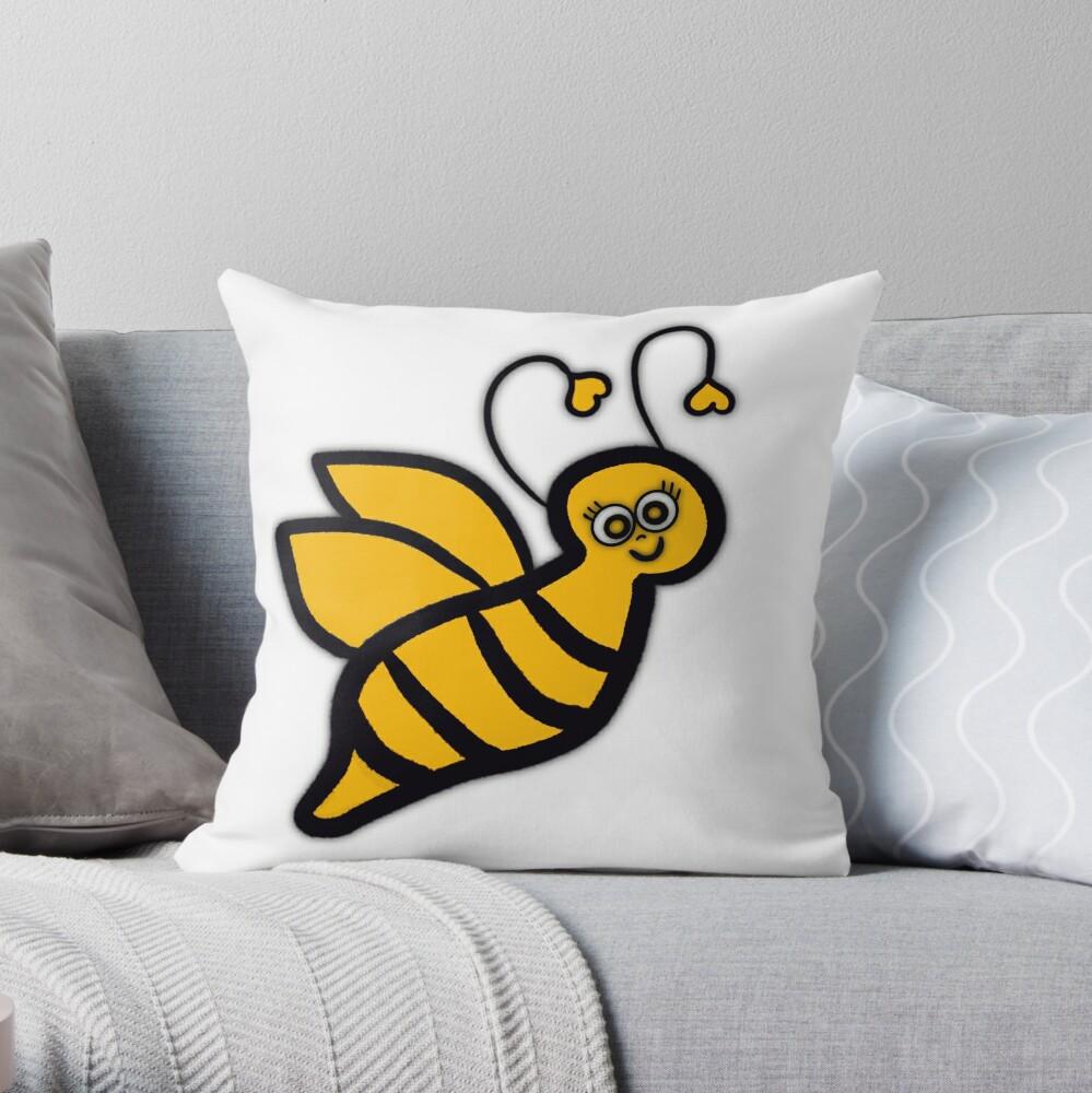 Bee Happy - Yellow Bumblebee  Throw Pillow