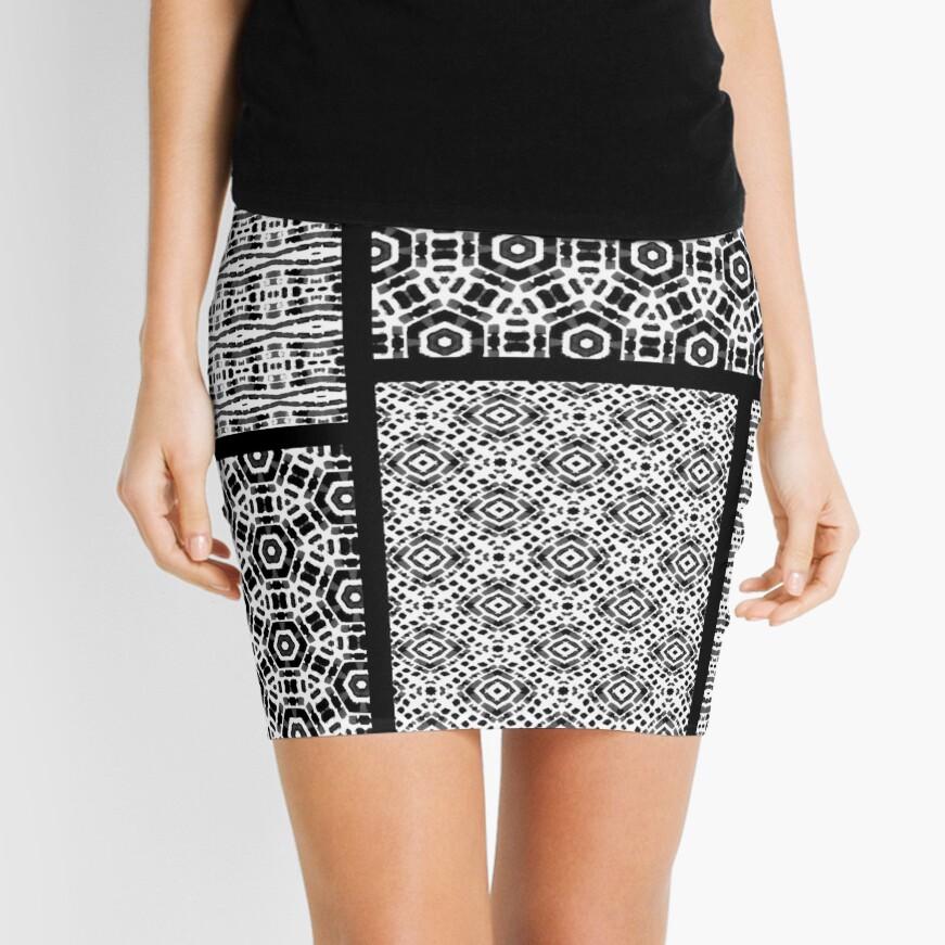 Shibori Quilt Ornament Mini Skirt