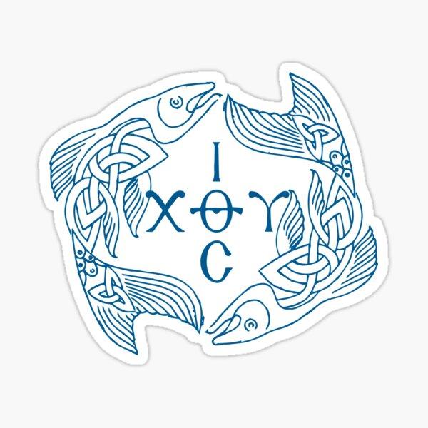 Blue Ichthys - Ιχθυς - Jesus Christ Son of God Saviour Sticker