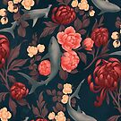 Botanical Shark (Red and Blue) by fioski