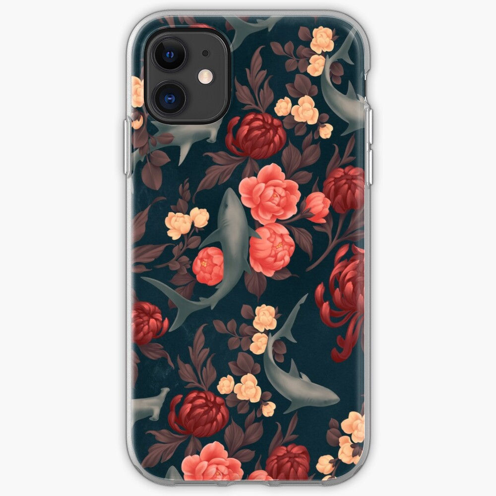 Botanical Shark (Red and Blue) iPhone Case & Cover