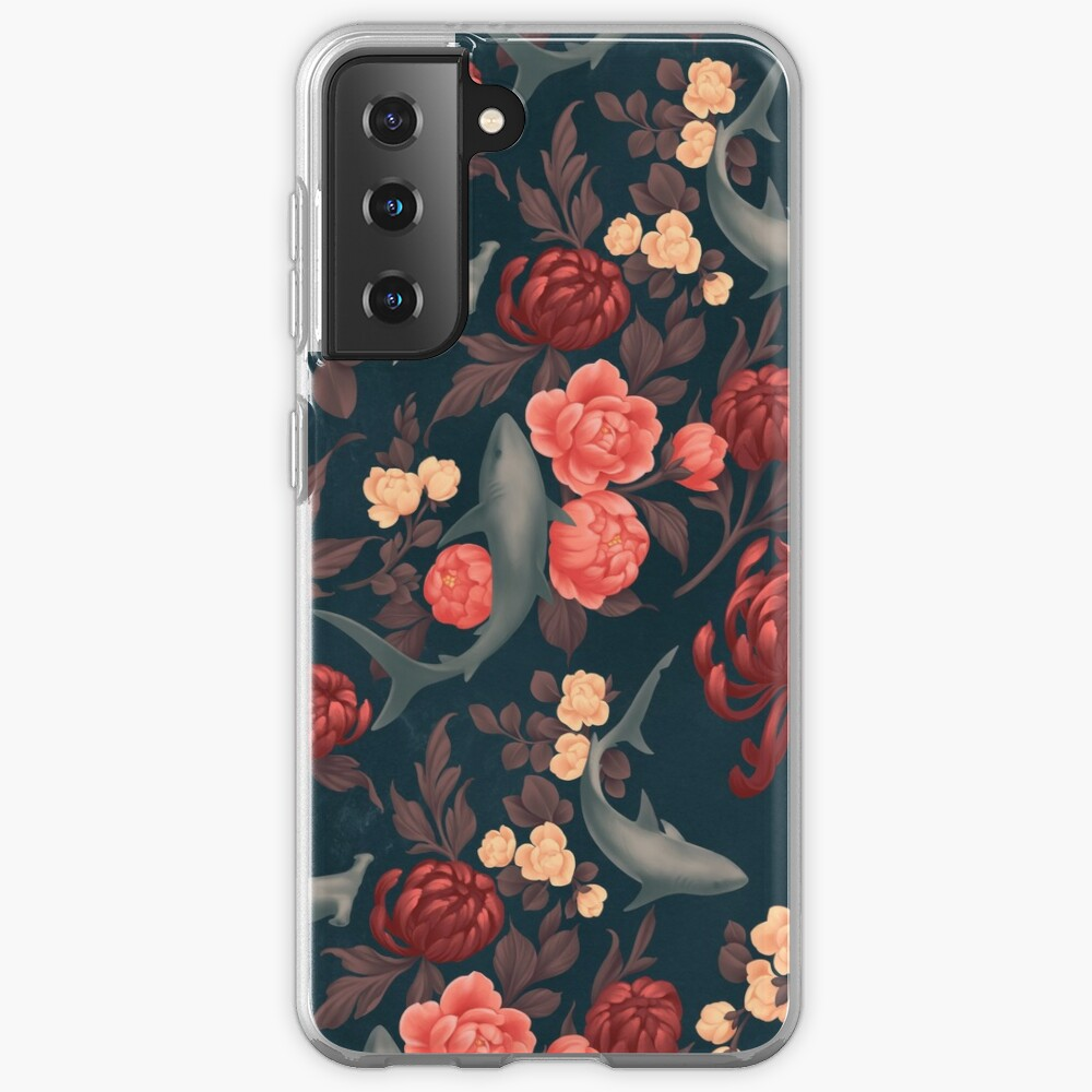 Botanical Shark (Red and Blue) Case & Skin for Samsung Galaxy