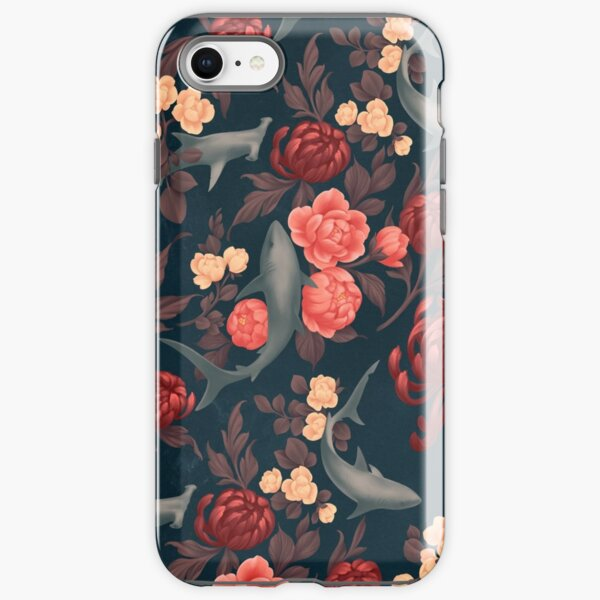 Botanical Shark (Red and Blue) iPhone Tough Case