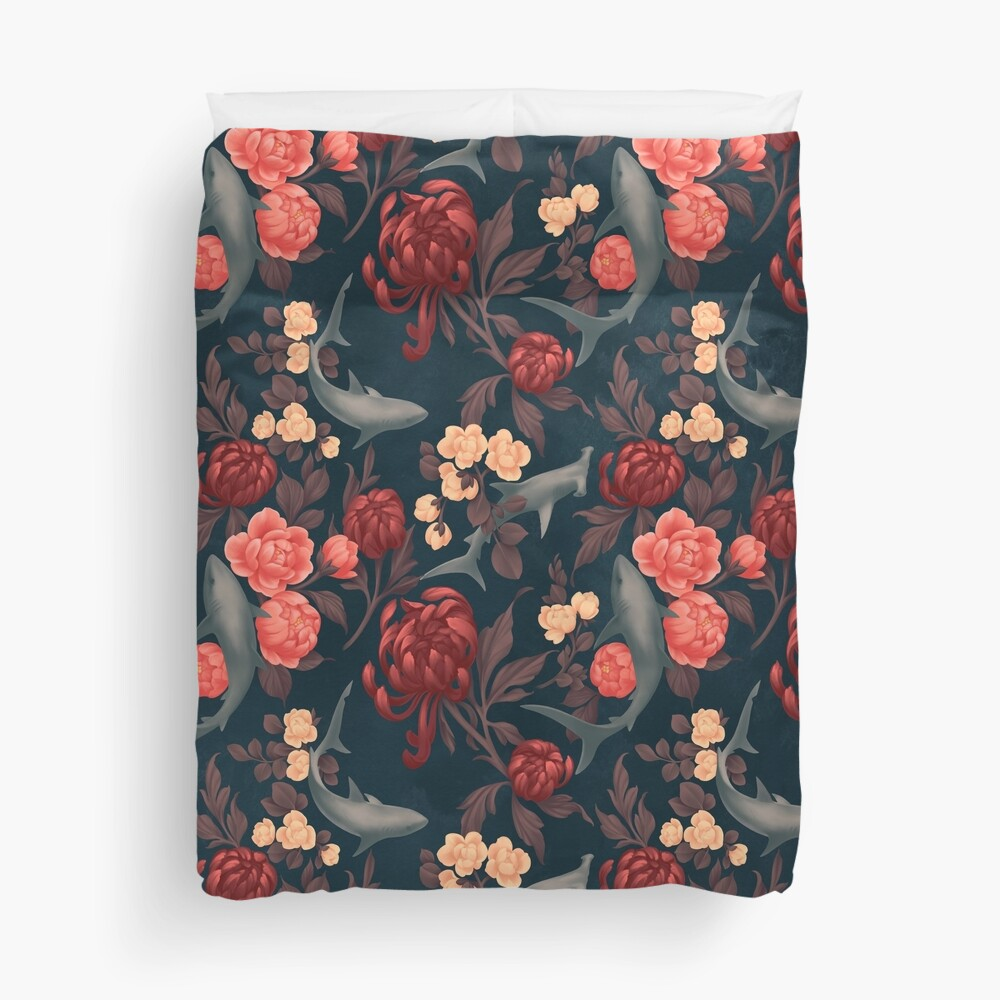 Botanical Shark (Red and Blue) Duvet Cover