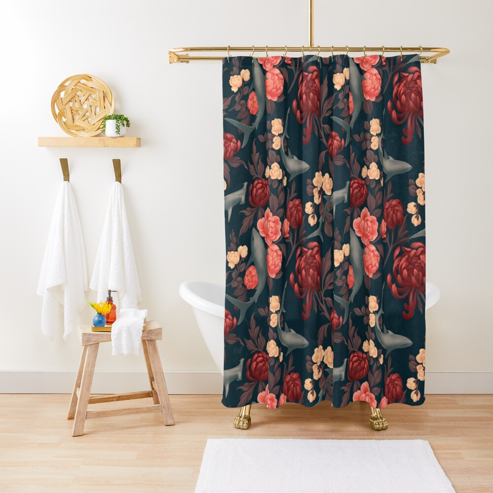 Botanical Shark (Red and Blue) Shower Curtain