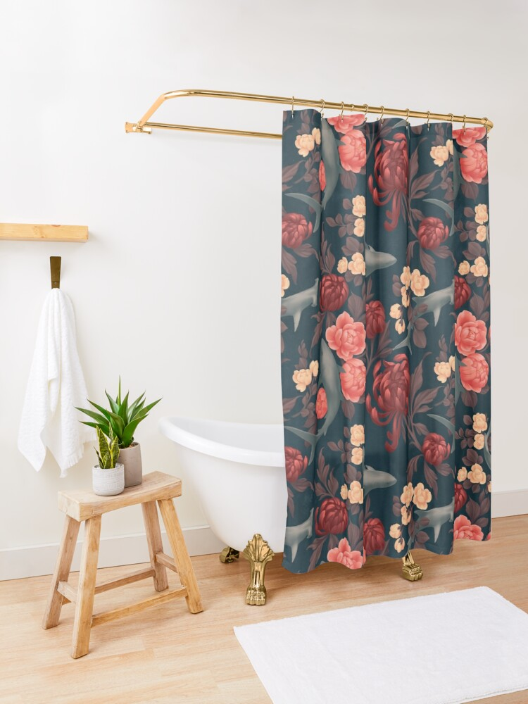 Alternate view of Botanical Shark (Red and Blue) Shower Curtain