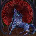 «Luna de sangre llena de lobo negro tribal» de tinaschofield