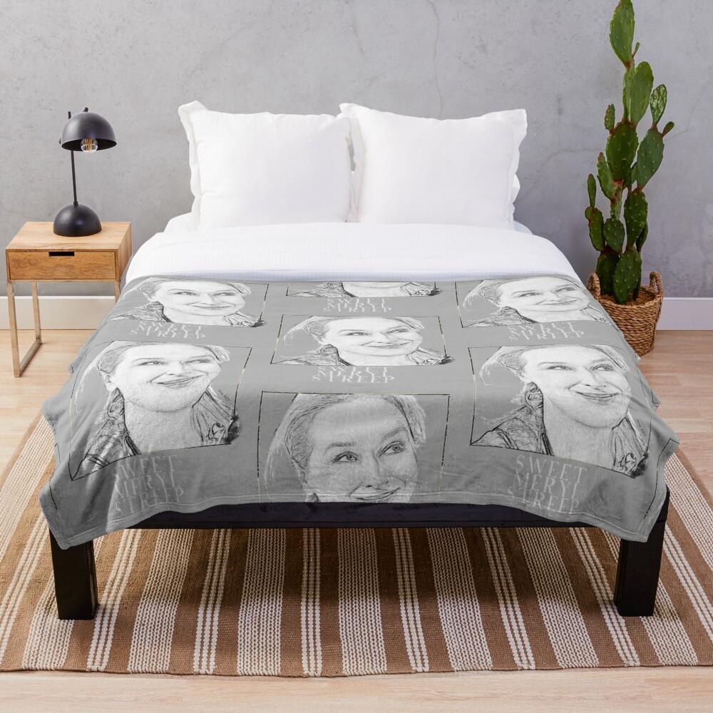 Sweet Meryl Streep framed, popart black and white - digital handmade by Iona Art Digital Throw Blanket