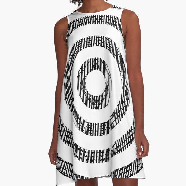 #Illustration, #pattern, #decoration, #design, abstract, black and white, monochrome, circle, geometric shape A-Line Dress