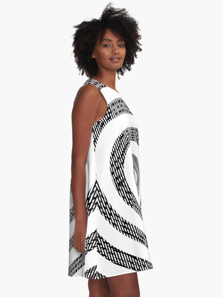 Alternate view of #Illustration, #pattern, #decoration, #design, abstract, black and white, monochrome, circle, geometric shape A-Line Dress