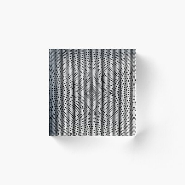 #Illustration, #pattern, #decoration, #design, abstract, black and white, monochrome, circle, geometric shape Acrylic Block