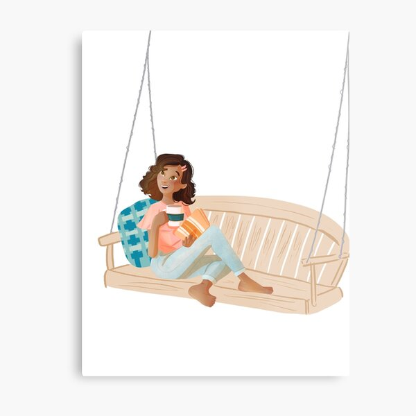 girl in the bench Metal Print