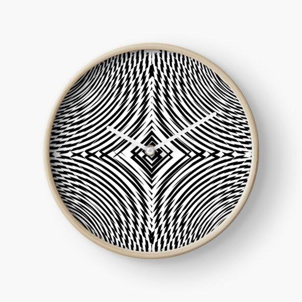 #Illustration, #pattern, #decoration, #design, abstract, black and white, monochrome, circle, geometric shape Clock