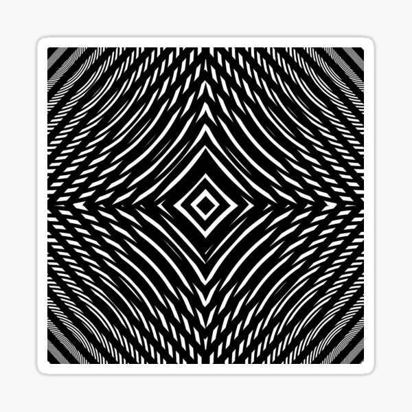 #Illustration, #pattern, #decoration, #design, abstract, black and white, monochrome, circle, geometric shape Sticker