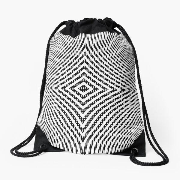 #Illustration, #pattern, #decoration, #design, abstract, black and white, monochrome, circle, geometric shape Drawstring Bag