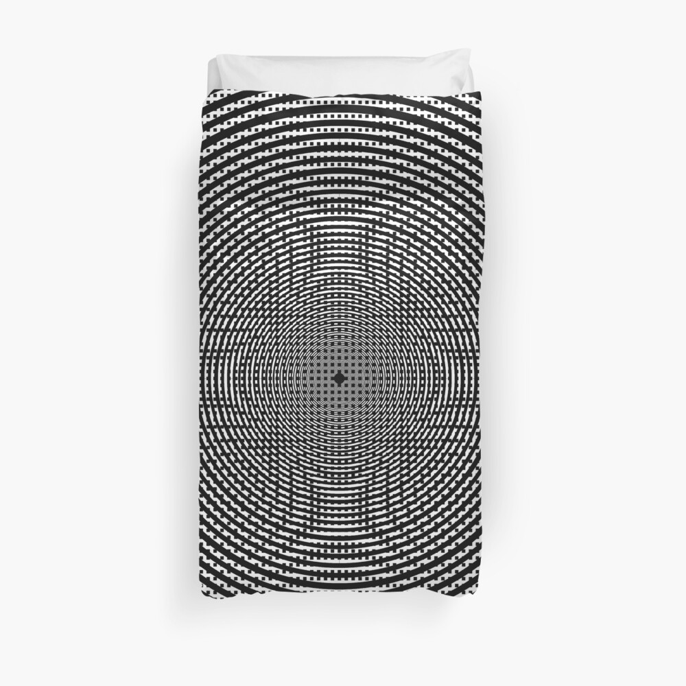 #Illustration, #pattern, #decoration, #design, abstract, black and white, monochrome, circle, geometric shape Duvet Cover