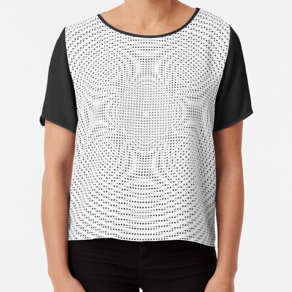 #Illustration, #pattern, #decoration, #design, abstract, black and white, monochrome, circle, geometric shape Chiffon Top