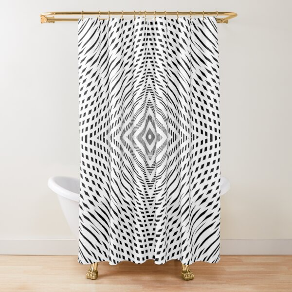 #Illustration, #pattern, #decoration, #design, abstract, black and white, monochrome, circle, geometric shape Shower Curtain